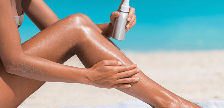 woman sunscreen skincare