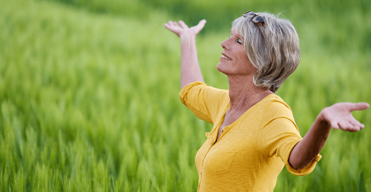 mature woman in field